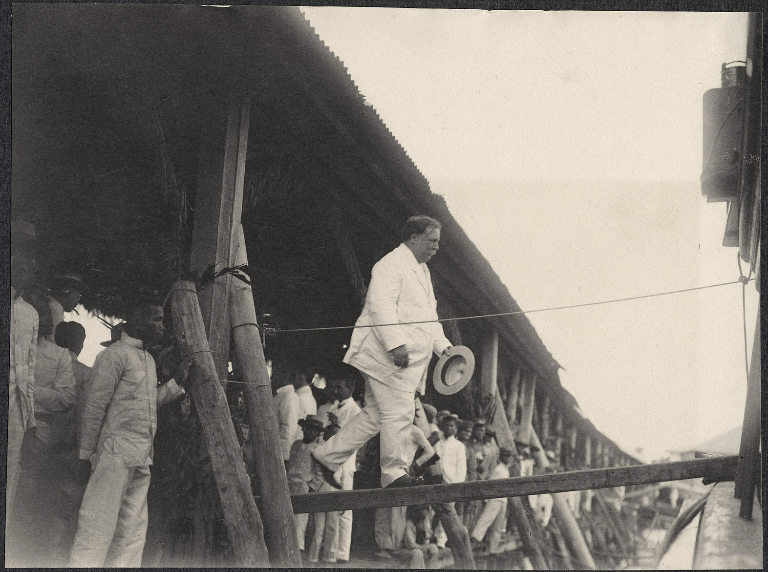 William H. Taft boarding a ship, probably at Tacloban