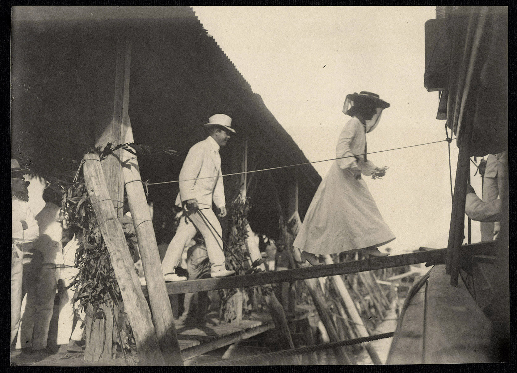Alice Roosevelt and Nicholas Longworth boarding a ship, probably at Tacloban