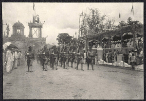 Legazpi: Troops march past a parade reviewing stand