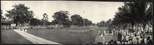 Zamboanga: Soldiers march past a reviewing stand on the parade grounds
