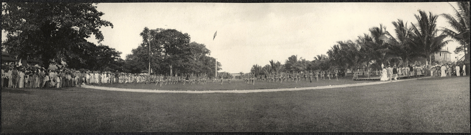 Zamboanga: American soldiers in formation on Zamboanga parade grounds