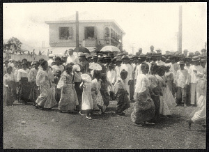 Iloilo City: Parade of young women, possibly a school group