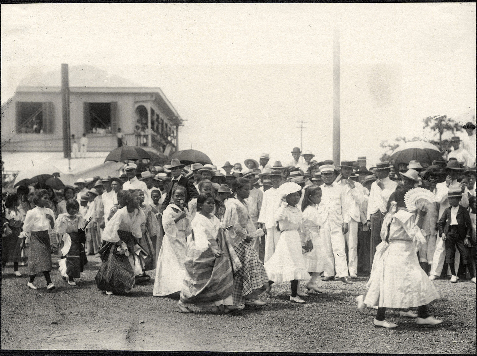 Iloilo City: Parade of young girls, possibly a school group