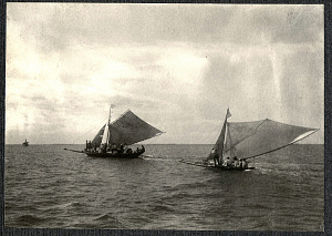 Two sailing bancas, likely at Bacolod