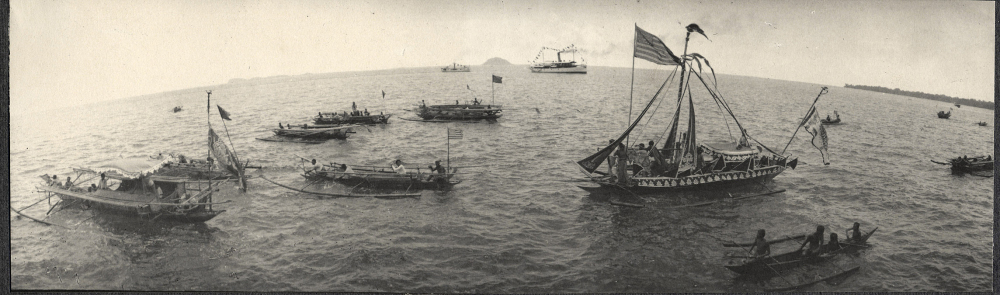 Zamboanga: decorated bancas, from the deck of the USS Logan