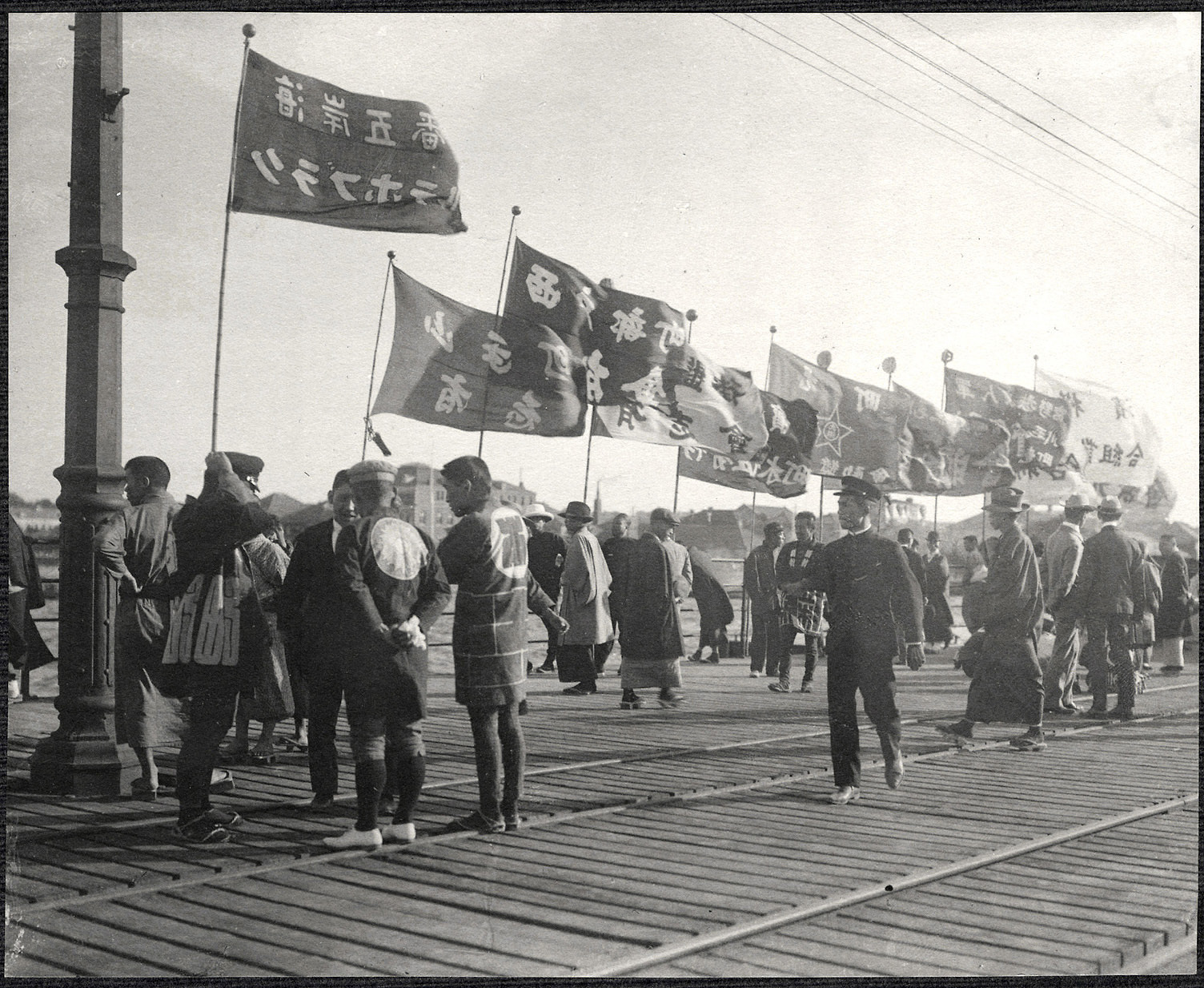 Yokohama: Japanese gathered at the pier