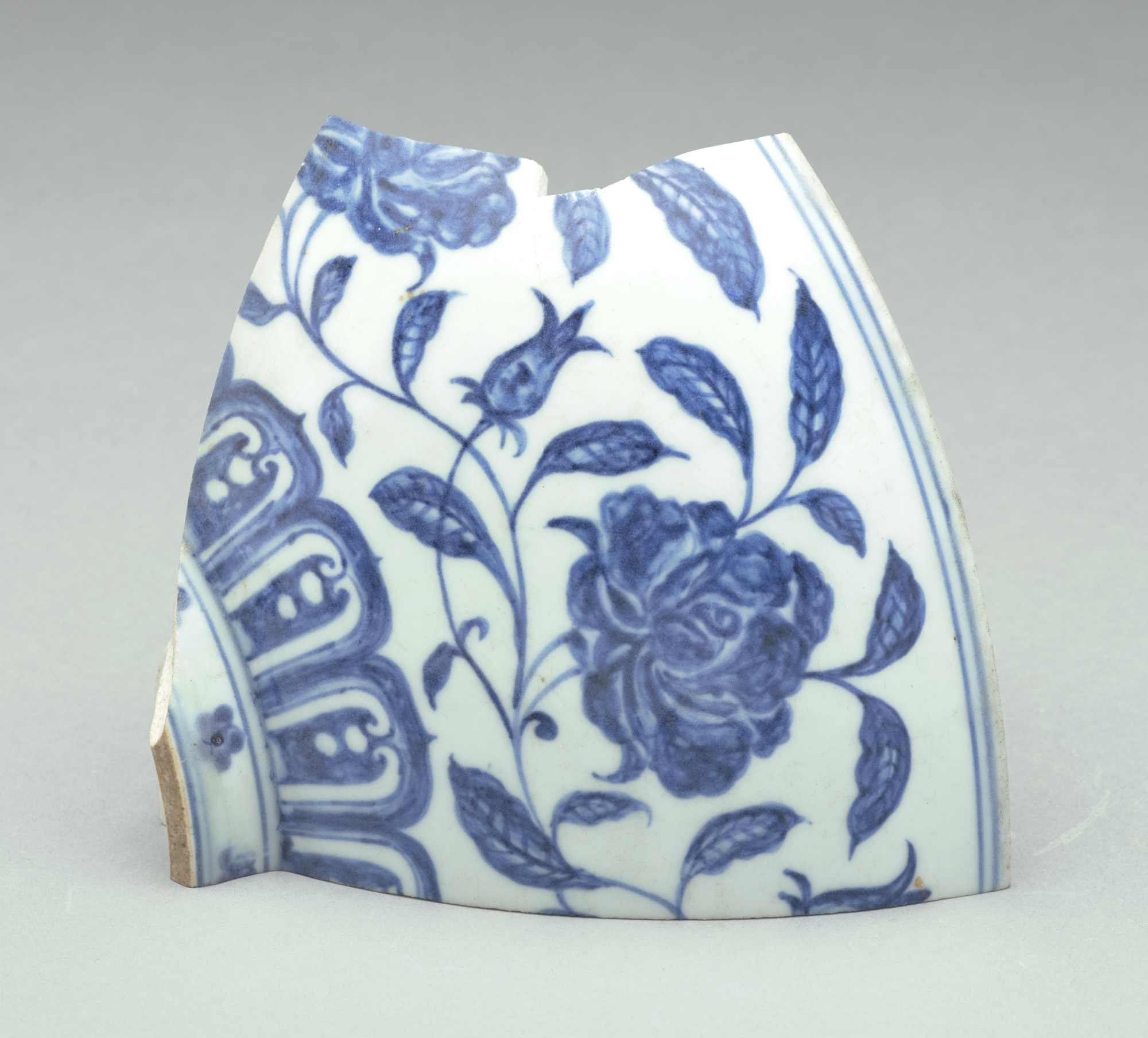 1 of 2 fragments of a blue-and-white bowl formerly in Mr. Johnson's collection (Goes with FSC-P-242)