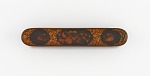 Pen case with flowers, birds, and fruit on a black ground, and gold vines