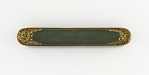 Pen case with gold scrolls on a green ground