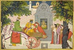 Rukmini elopes with Krishna, folio from a Bhagavata Purana