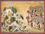 Jarasandha's army advances toward Krishna and Balarama, folio from a Mahabharata