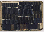Sample book of indigo-dyed handwoven textiles with storage box