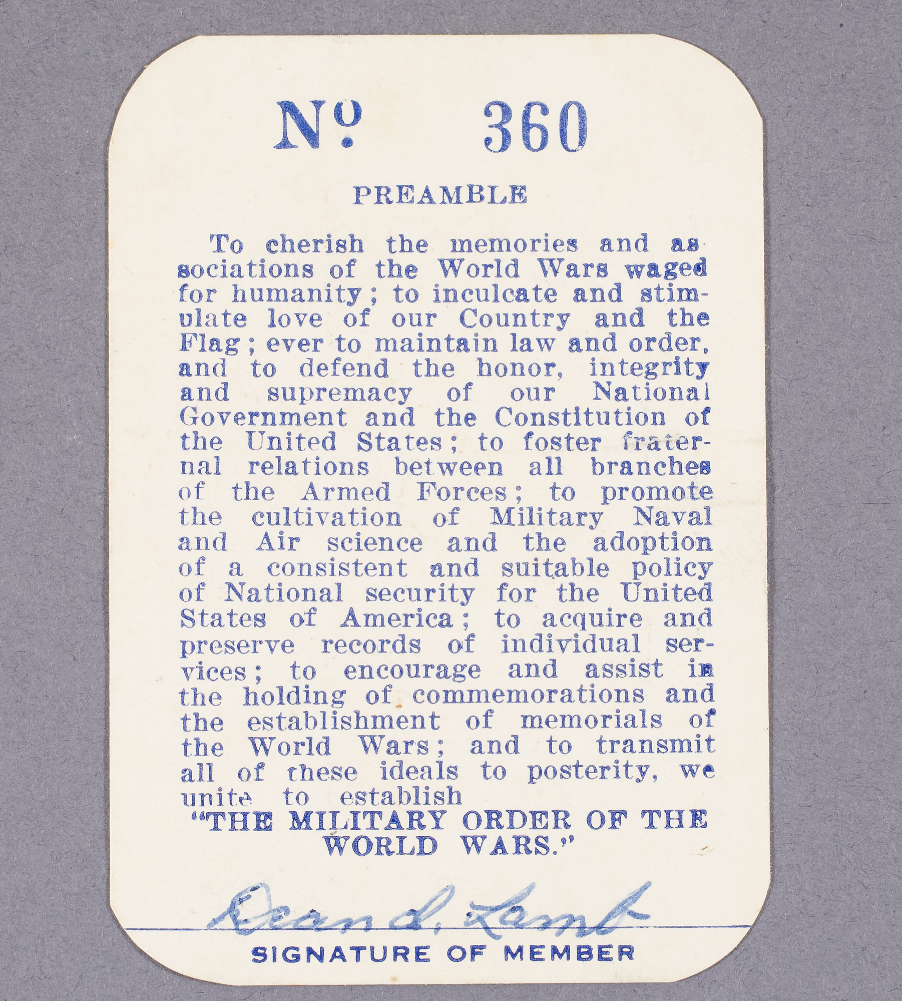 Image of : Card, Membership, Military Order of the World Wars