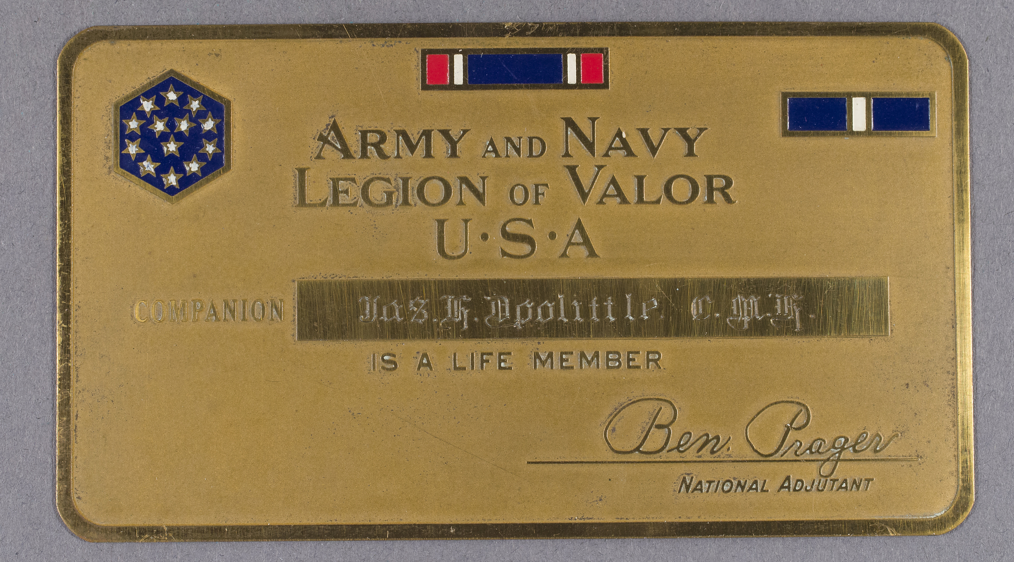 Image of : Membership Card, Army and Navy Legion of Valor, James H. Doolittle