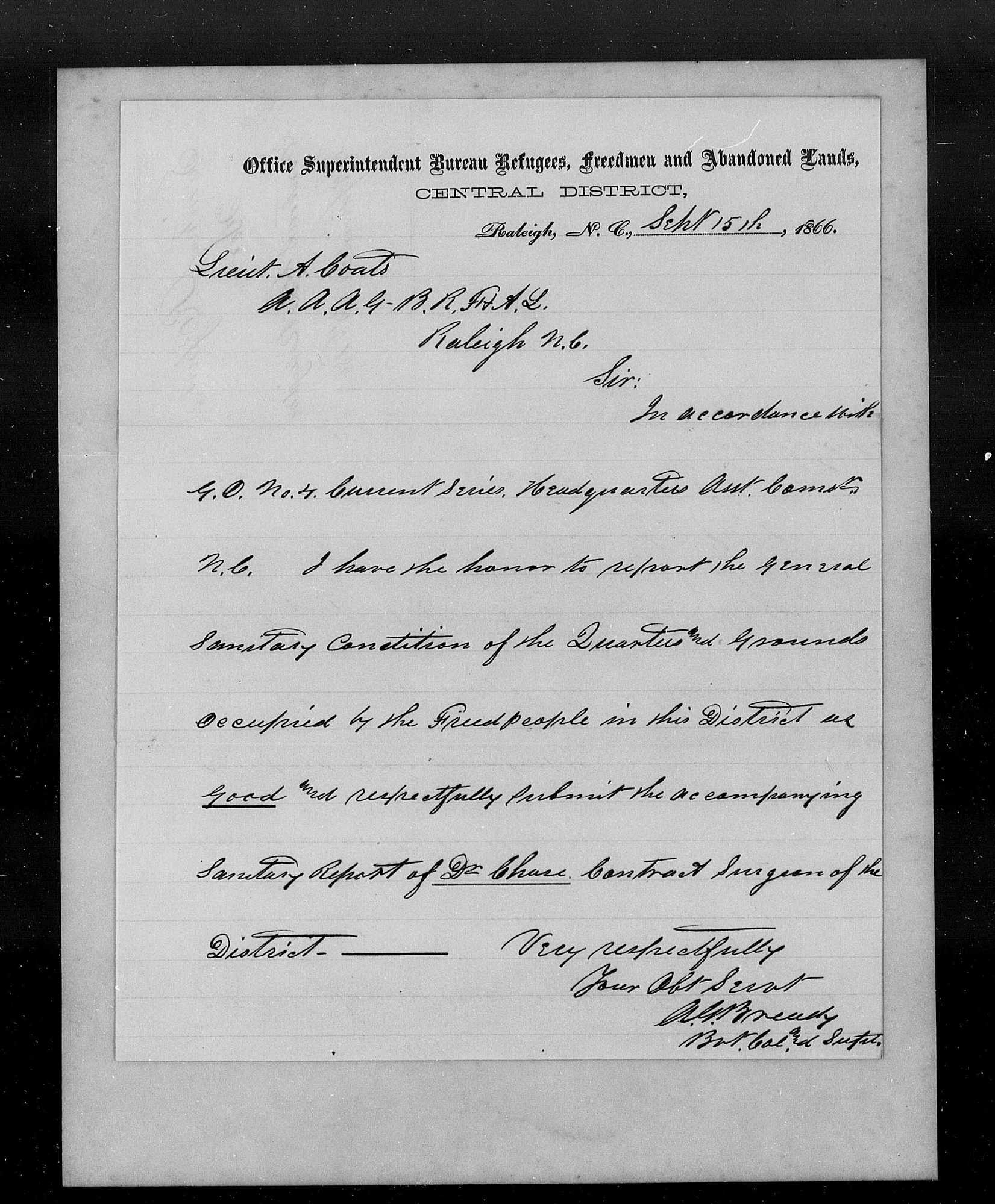 Records of the Assistant Commissioner for the State of North Carolina Bureau of Refugees, Freedmen, and Abandoned Lands