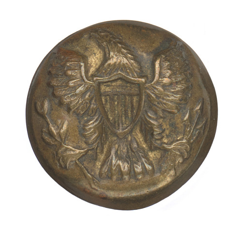 Stamped brass uniform button with American eagle | National