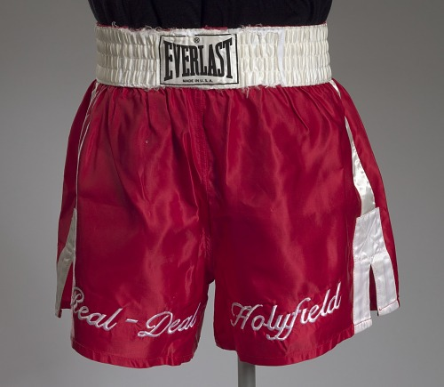6511853d64 Boxing trunks worn by Evander Holyfield | National Museum of African  American History and Culture