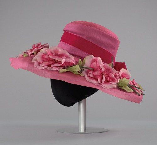 Image for Pink mushroom hat with flowers from Mae s Millinery ... 600d063192a