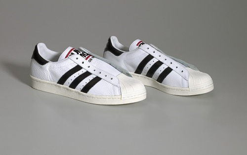 3143727279e9a4 Image for Pair of white and black Run-D.M.C. Superstar 80s sneakers made by  Adidas ...
