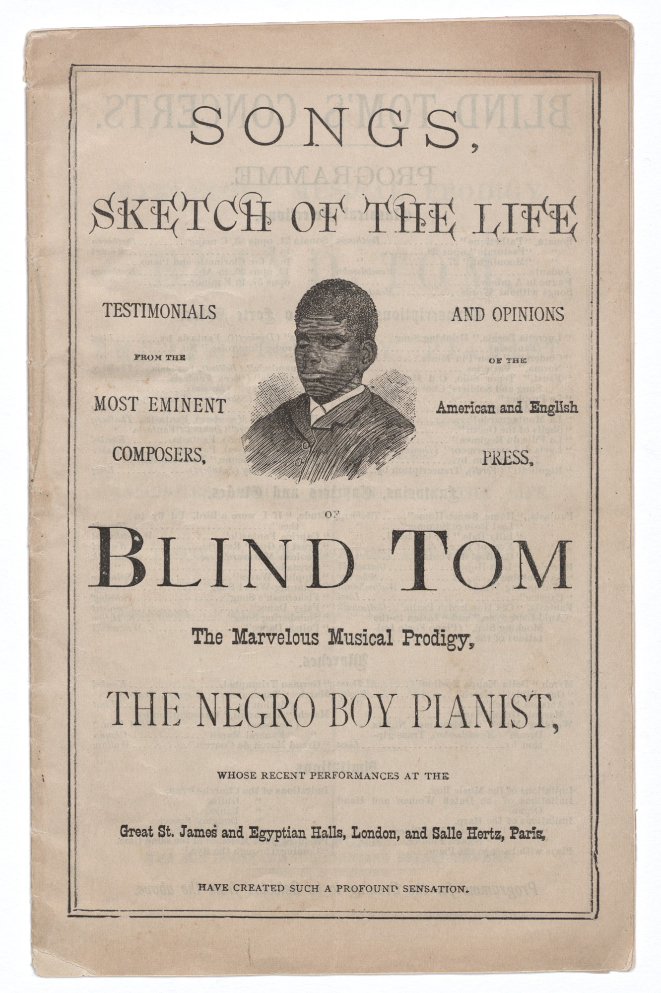 Image for Songs, Sketch of the Life of Blind Tom