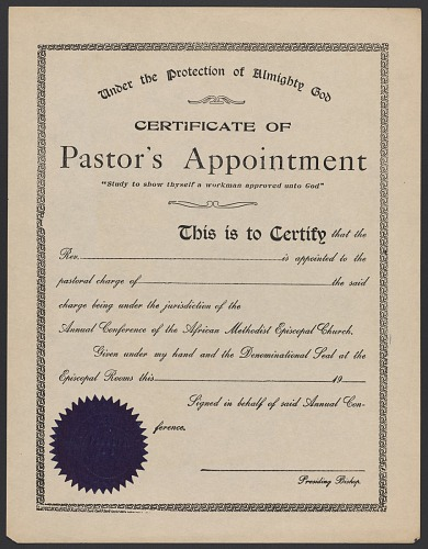 Blank certificate of pastor\'s appointment for the A.M.E. Church ...