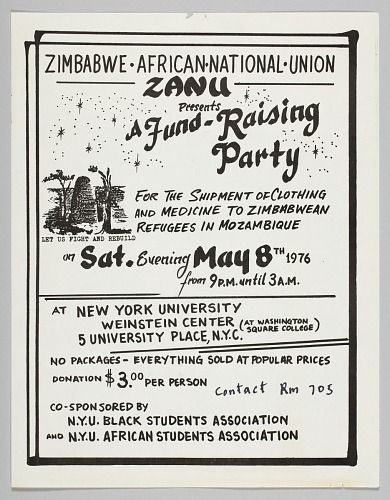 flyer advertising a fundraising event for zimbabwean refugees
