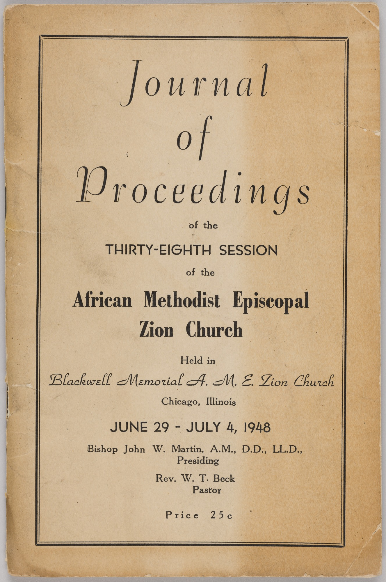 Image for Journal of Proceedings of the Thirty-Eighth Session of the African Methodist Episcopal Zion Church