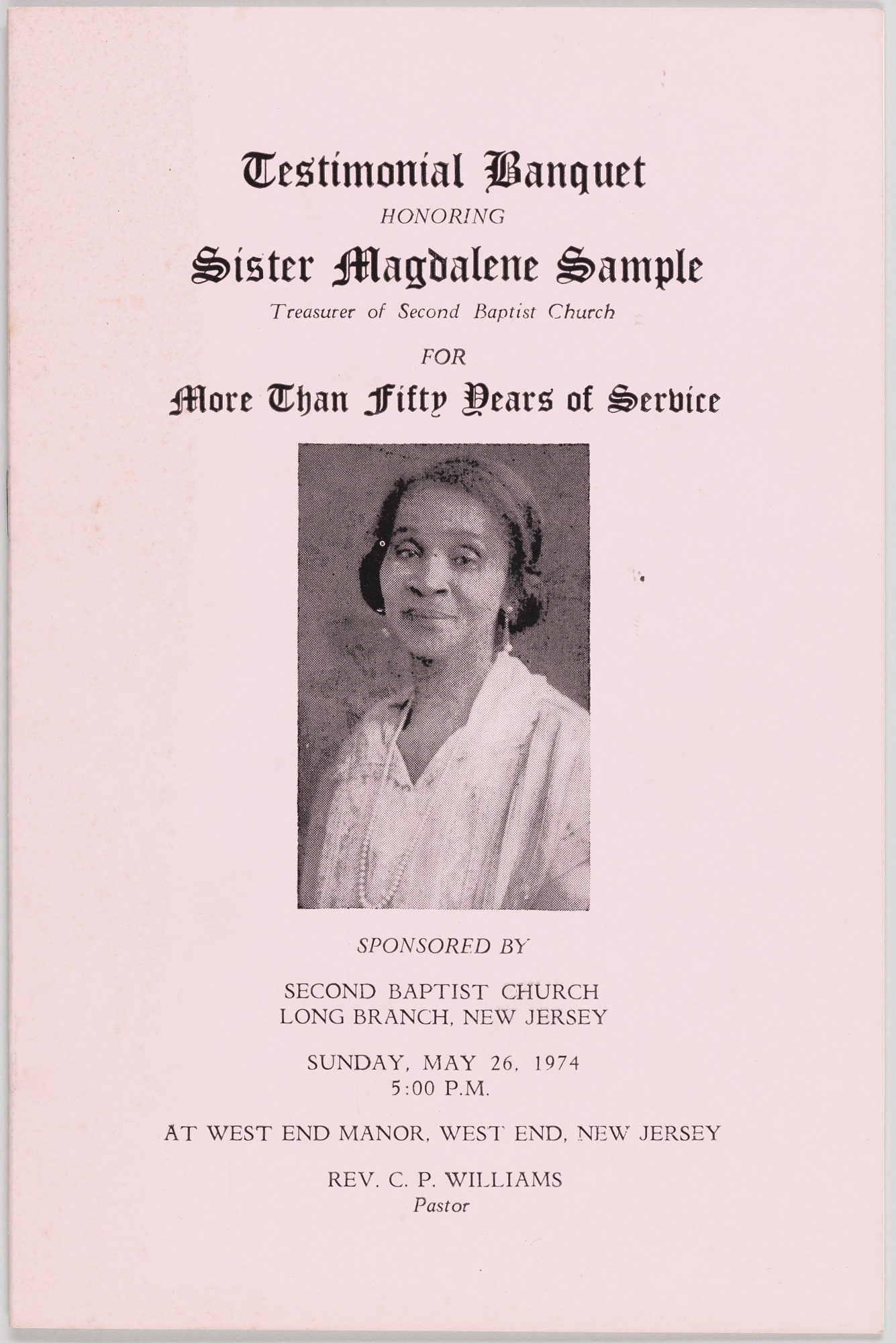 Image for Testimonial Banquet Honoring Sister Magdalene Sample for More than Fifty Years of Service