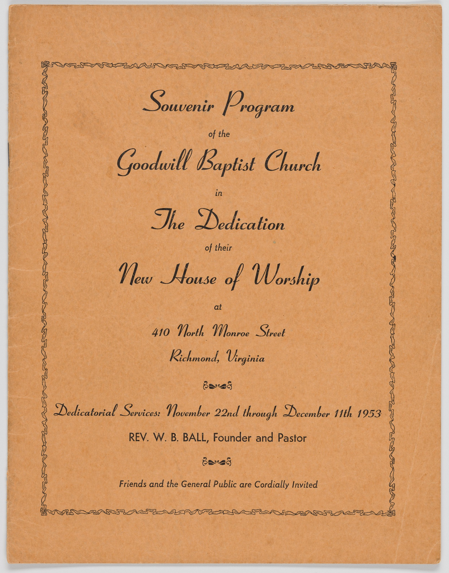 Image for Souvenir Program of the Goodwill Baptist Church in the Dedication of their New House of Worship