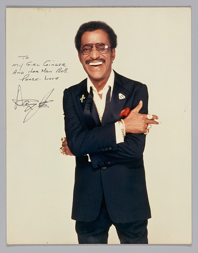 Color picture of Sammy Davis Jr  inscribed to Ginger Smock