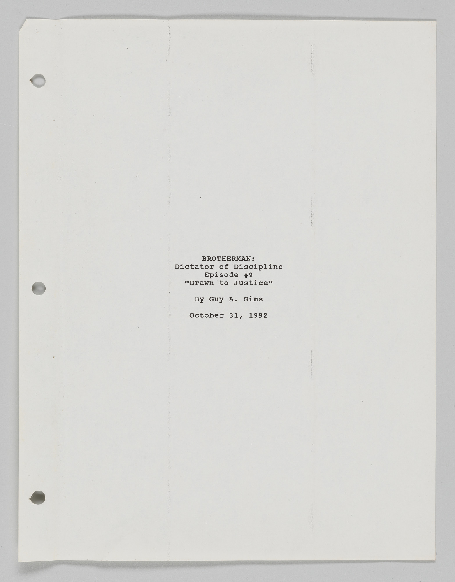 Image for Brotherman Comic script written by Guy A. Sims