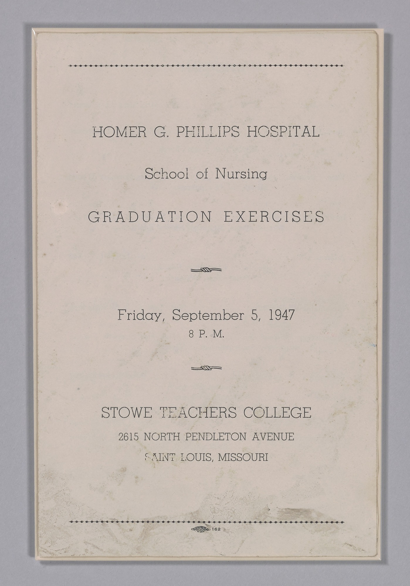Graduation Program For The Homer G Phillips Hospital School Of