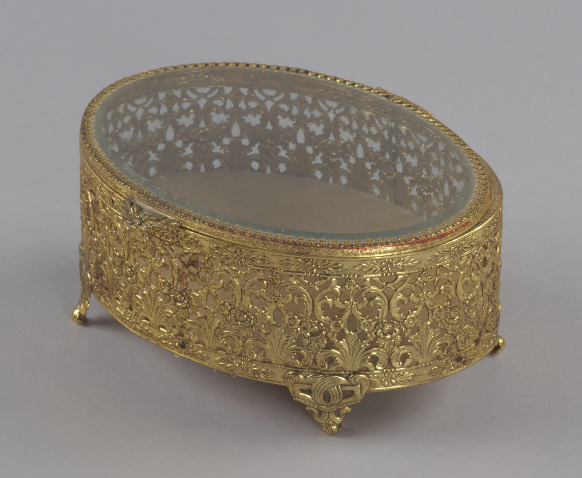 Gold metal scrollwork jewelry box from Mae's Millinery Shop