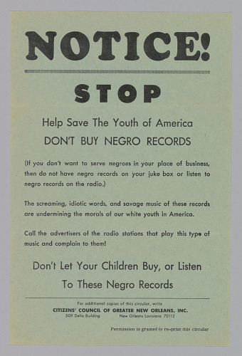 handbill from the citizen s council of greater new orleans inc