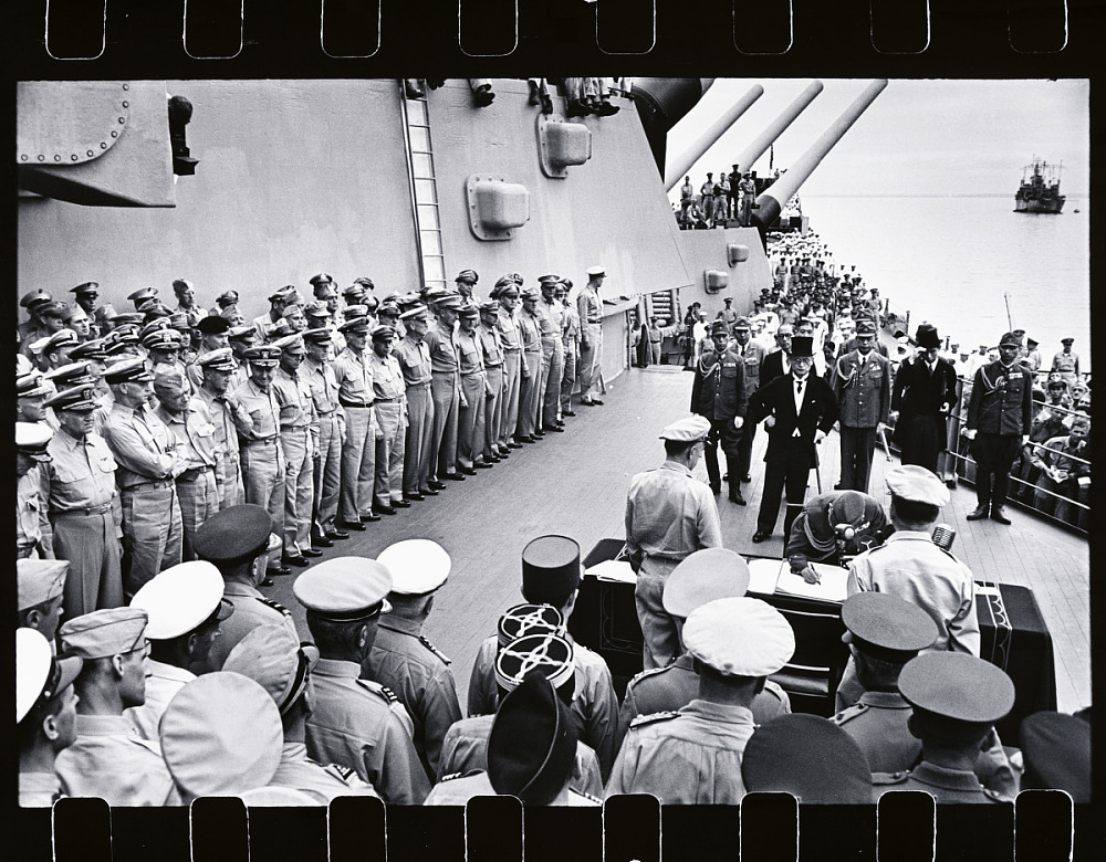 The Japanese surrender on board the U S S  Missouri in Tokyo Bay on