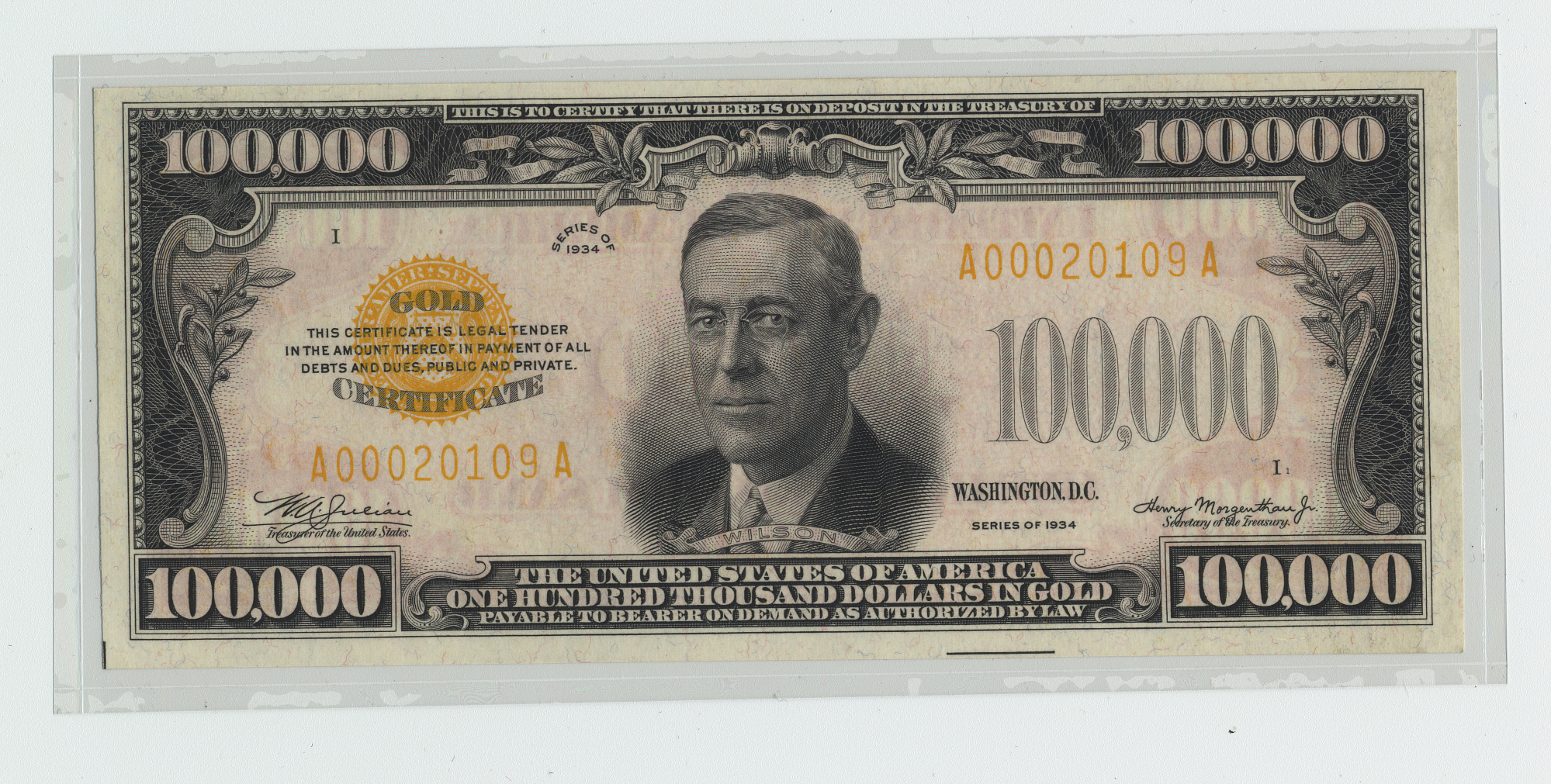 100000 Dollars Gold Certificate United States 1934 National