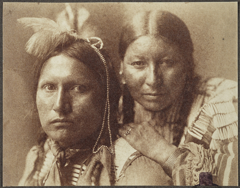Platinum Portrait of American Horse and wife, Sioux Indians
