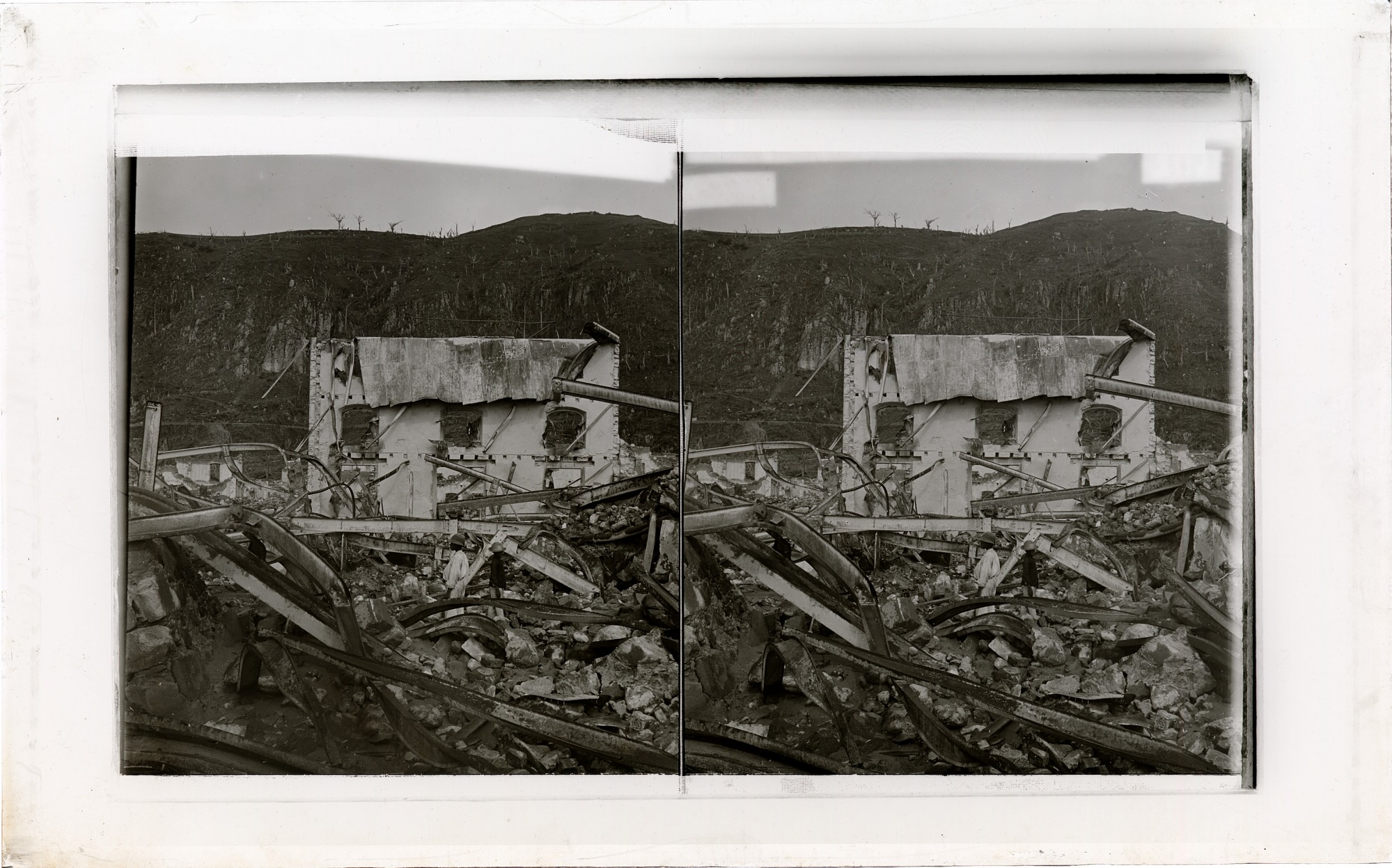 A modern steel-frame building after Mont Pelee's tornado of fire--one of St. PIerre's best structures. 6692 Interpositive