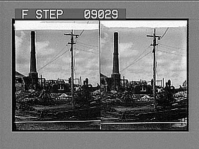 Water-Works now in temporary working order, Galveston Disaster. Copyright 1900 by R.Y. Young. [Active no. 1162.5 : stereo photonegative]