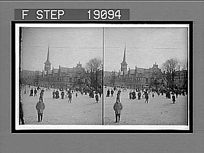 Danish people coming and going before the picturesque Exchange with its spire of dragons, Copenhagen. 1022 Interpositive
