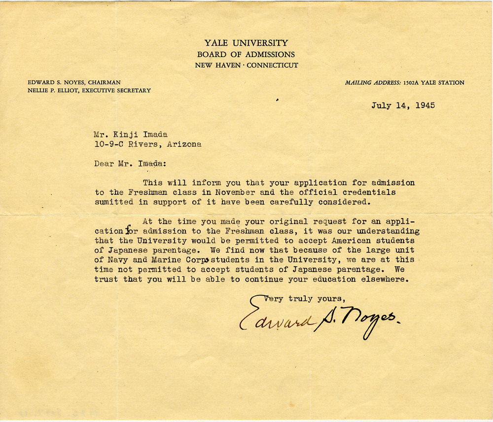 Rejection letter from yale university national museum of american rejection letter from yale university description thecheapjerseys Gallery
