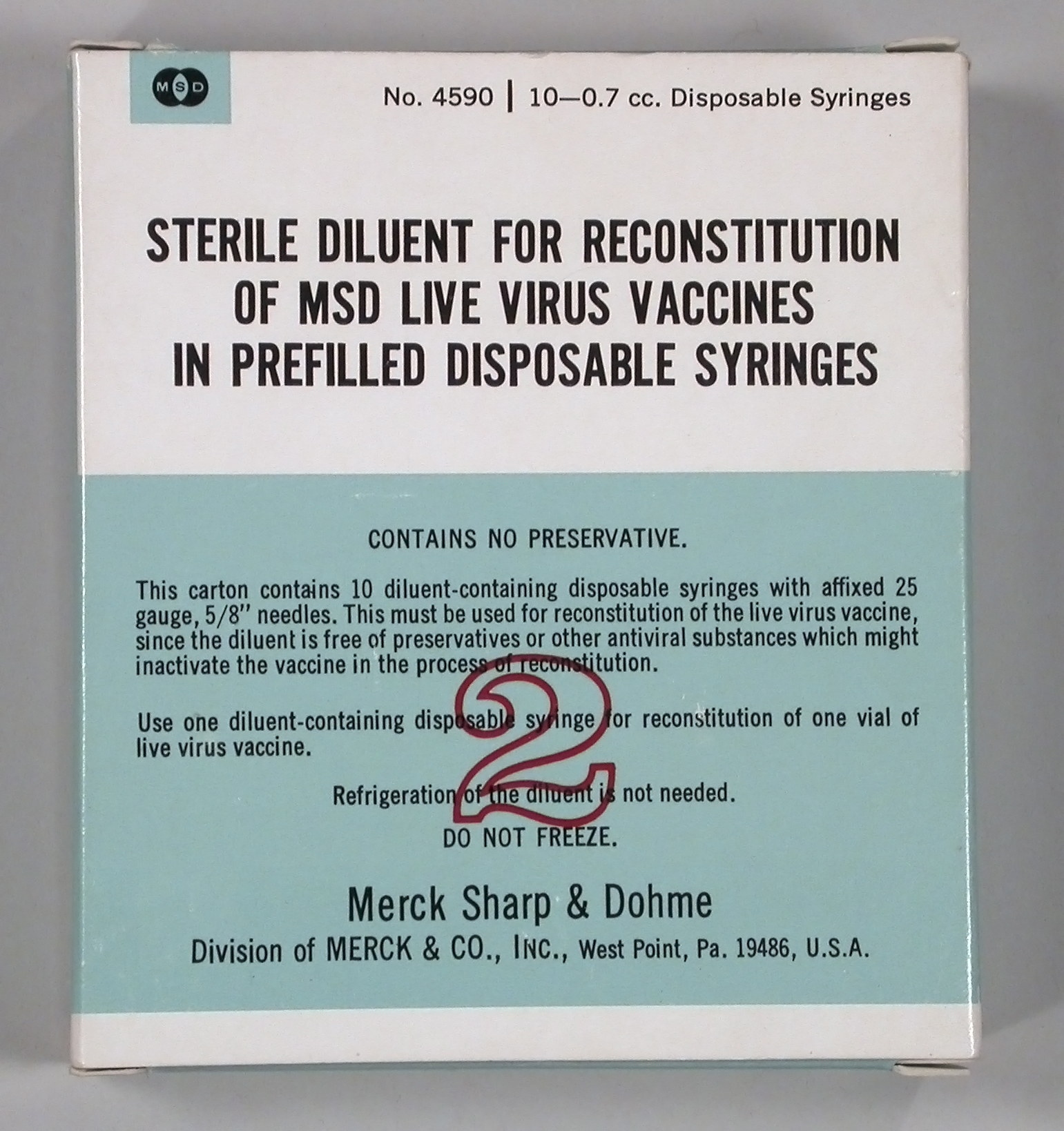 Sterile Diluent for Reconstitution of Msd Live Virus Vaccines - In Prefilled Disposable Syringes