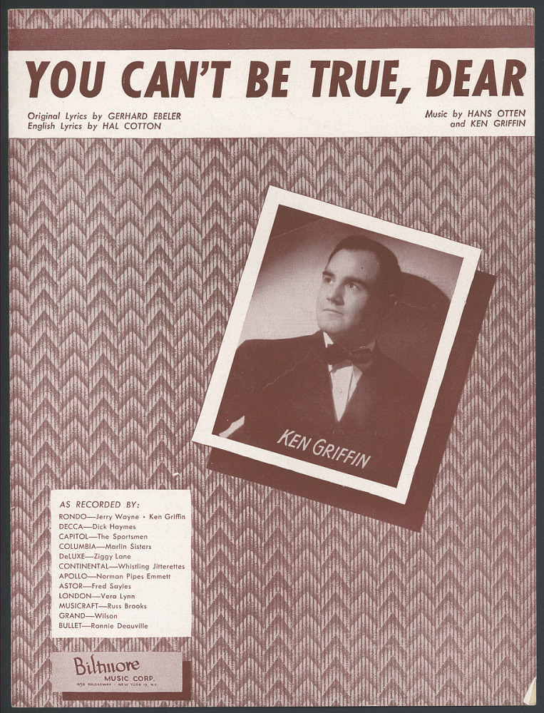 """You Can't Be True, Dear"""" Sheet Music 