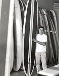 Surfboard shaped by Craig Stecyk at Dave Sweet's Surfboards, Santa Monica, 1966