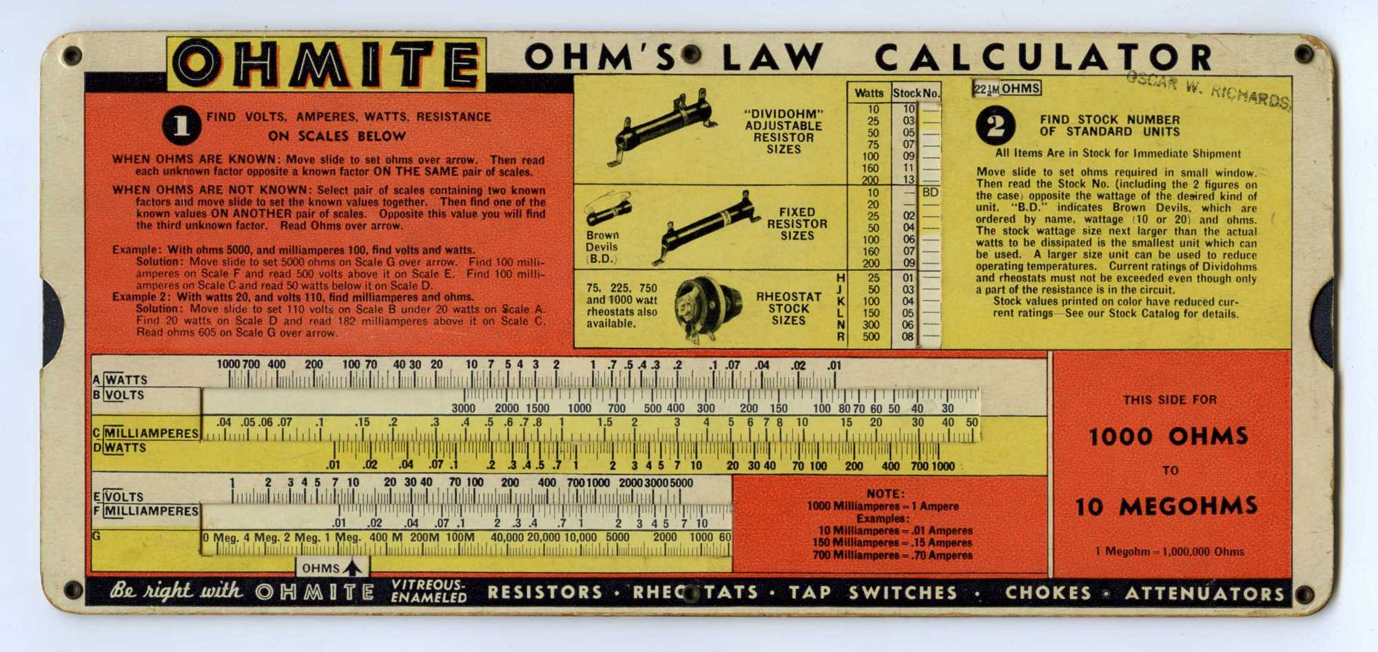 perrygraf ohm s law calculator slide rule for ohmite national