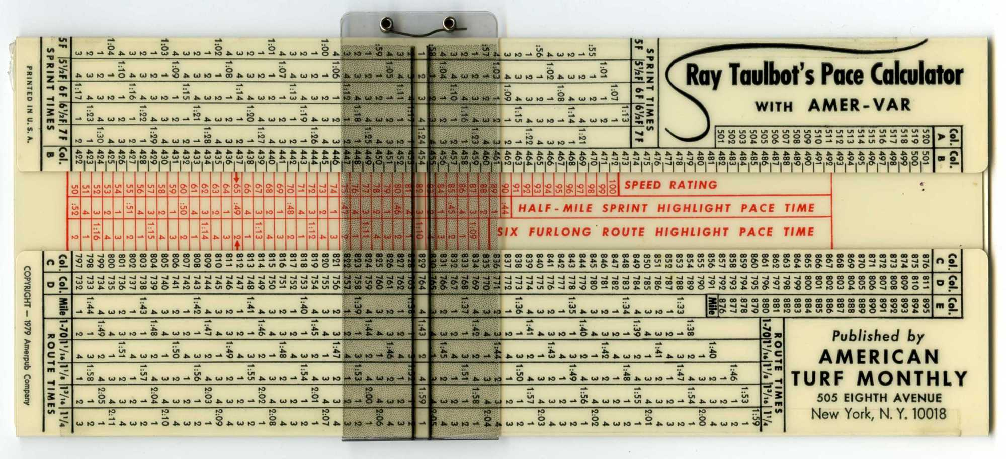 Ray Taulbot's Pace Calculator Linear Slide Rule | National