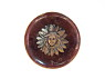 Red Button with Metal Center Design of Head Above Flower Petals from National Museum of American History ... See More