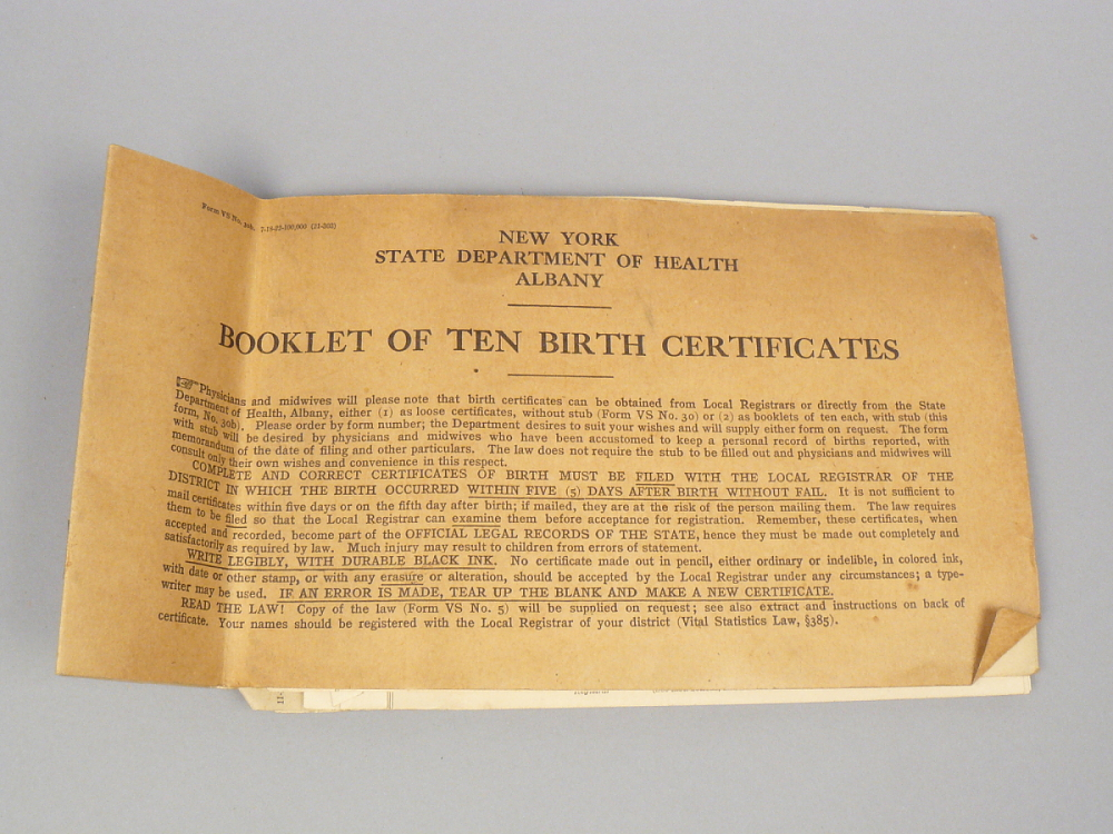 New York State Department of Health Albany Booklet of Ten Birth ...