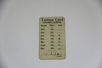Segregated School Tuition Card for Lillian T. M. Arnold