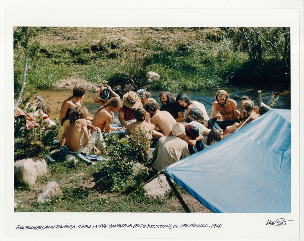 Hog Farmers and friends camp in the Sangre de Cristo Mountains of New Mexico. 1968